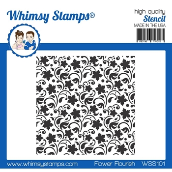 Whimsy Stamps FLOWER FLOURISH Stencil wss101*