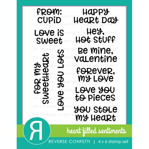 Reverse Confetti HEART FILLED SENTIMENTS Clear Stamp Set Preview Image