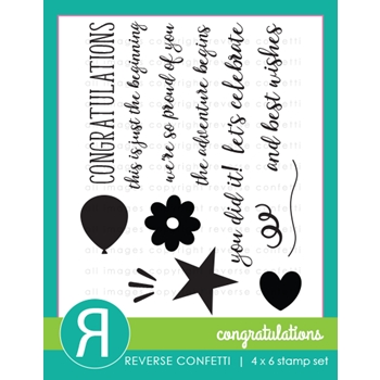 Reverse Confetti CONGRATULATIONS Clear Stamp Set
