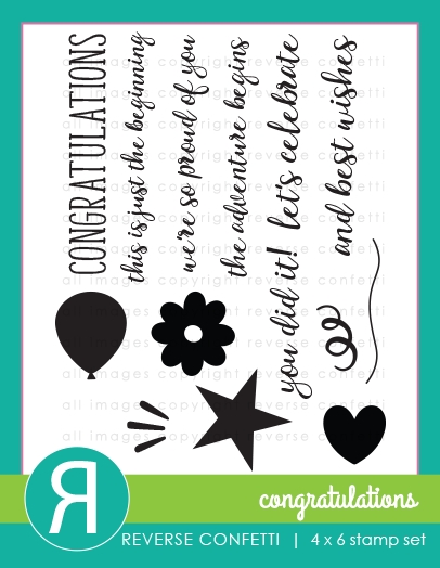 Reverse Confetti CONGRATULATIONS Clear Stamp Set  zoom image