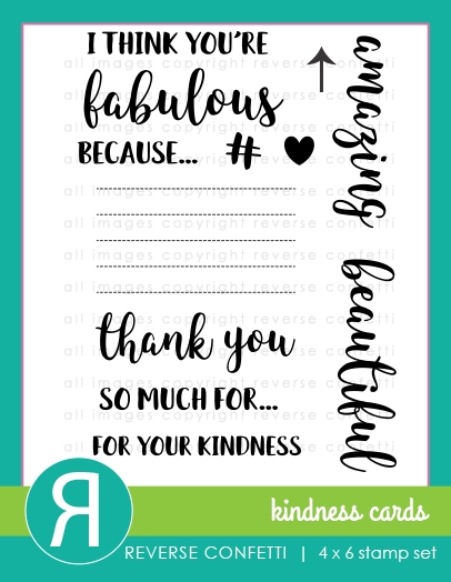 Reverse Confetti KINDNESS CARDS Clear Stamp Set  zoom image