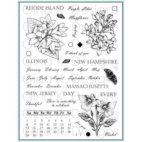 Gina K Designs STATELY FLOWERS 12 Clear Stamps 5560 Preview Image