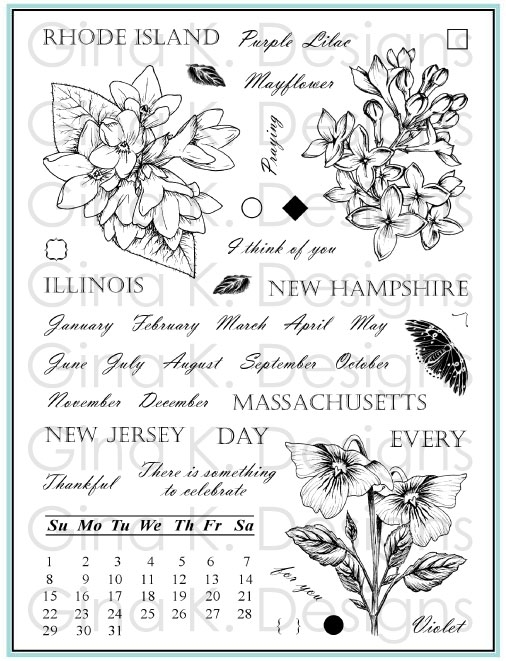 Gina K Designs STATELY FLOWERS 12 Clear Stamps 5560 zoom image