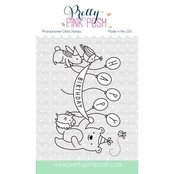 Pretty Pink Posh BIRTHDAY SCENE Clear Stamp Set