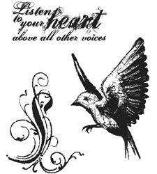 Tim Holtz Cling Rubber Stamps TAKE FLIGHT Bird Stampers Anonymous