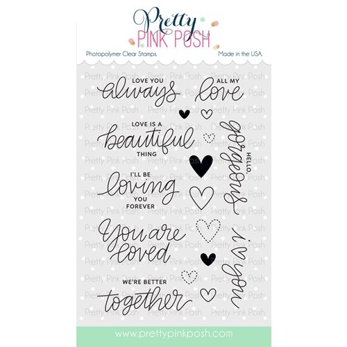 Pretty Pink Posh LOVE SENTIMENTS Clear Stamp Set Preview Image