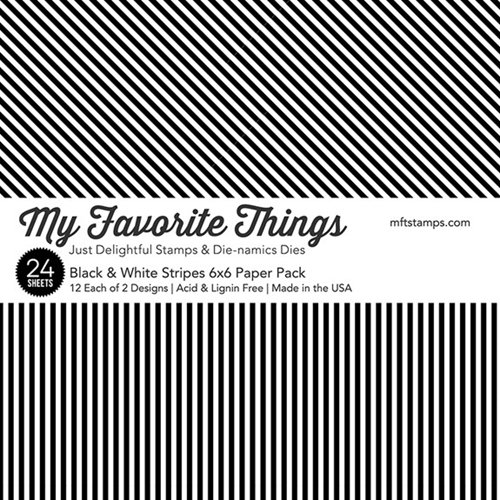 My Favorite Things BLACK AND WHITE STRIPES 6x6 Inch Paper Pack 3419 Preview Image