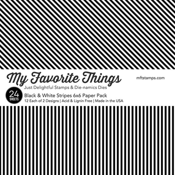 My Favorite Things BLACK AND WHITE STRIPES 6x6 Inch Paper Pack 3419