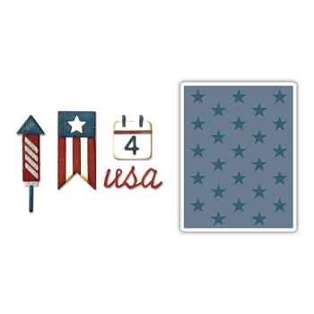 Tim Holtz Sizzix SIDE-ORDER AMERICANA Thinlits with Texture Fades Embossing Folder 662712