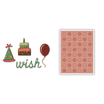 Tim Holtz Sizzix SIDE-ORDER BIRTHDAY Thinlits with Texture Fades Embossing Folder 662703