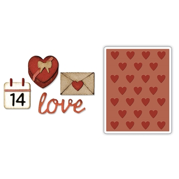 Tim Holtz Sizzix SIDE-ORDER VALENTINE Thinlits with Texture Fades Embossing Folder 662710
