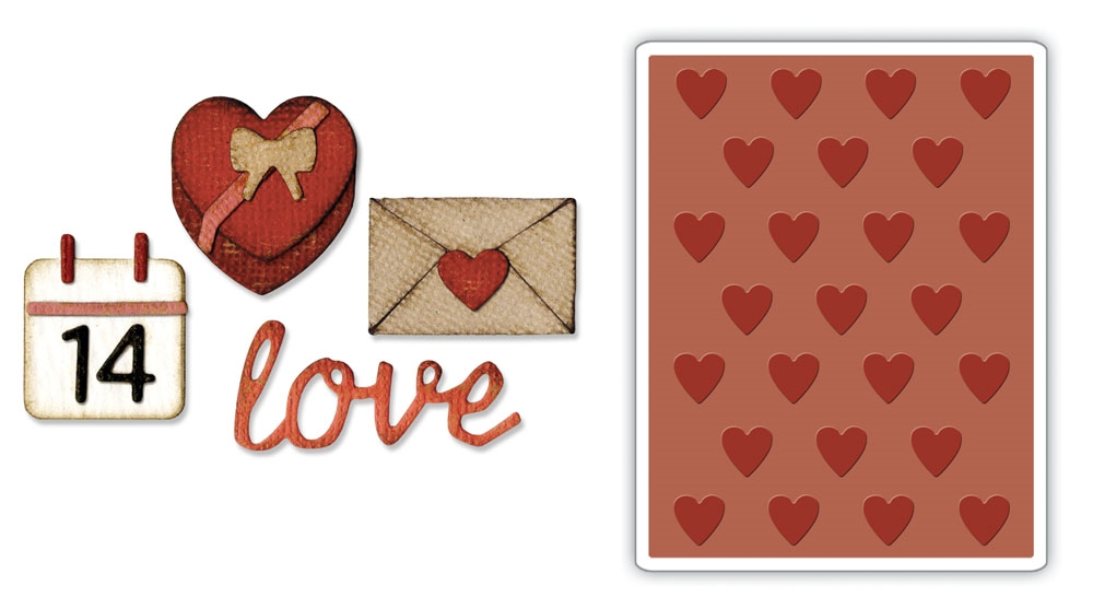 Tim Holtz Sizzix VALENTINE Side-Order Thinlits and Embossing Folder 662710 zoom image