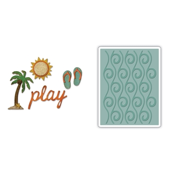 Tim Holtz Sizzix SIDE-ORDER BEACH Thinlits with Texture Fades Embossing Folder 662713