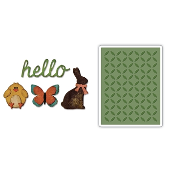 RESERVE Tim Holtz Sizzix SIDE-ORDER SPRINGTIME Thinlits with Texture Fades Embossing Folder 662711