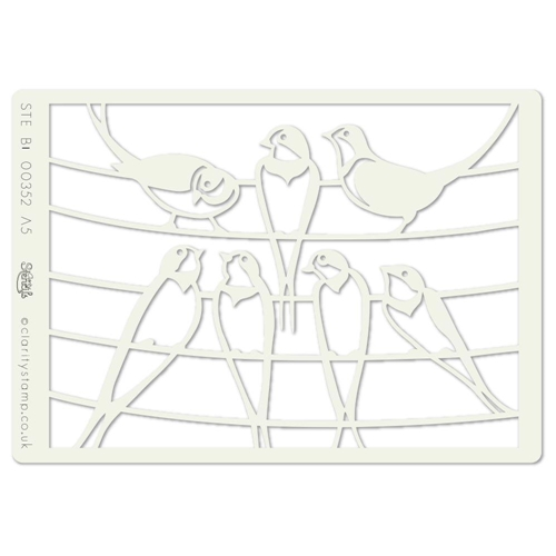 Claritystamp BIRDS ON A WIRE A5 Stencil STEBI00352A5* Preview Image