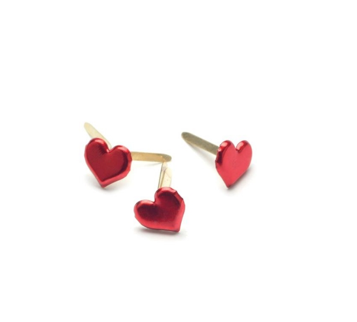 Creative Impressions METALLIC RED HEART BRADS Painted Metal Paper Fasteners 90315 zoom image