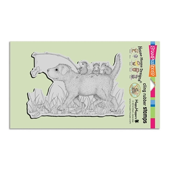 Stampendous Cling Stamp DOG RIDE Rubber UM hmcr117 House Mouse