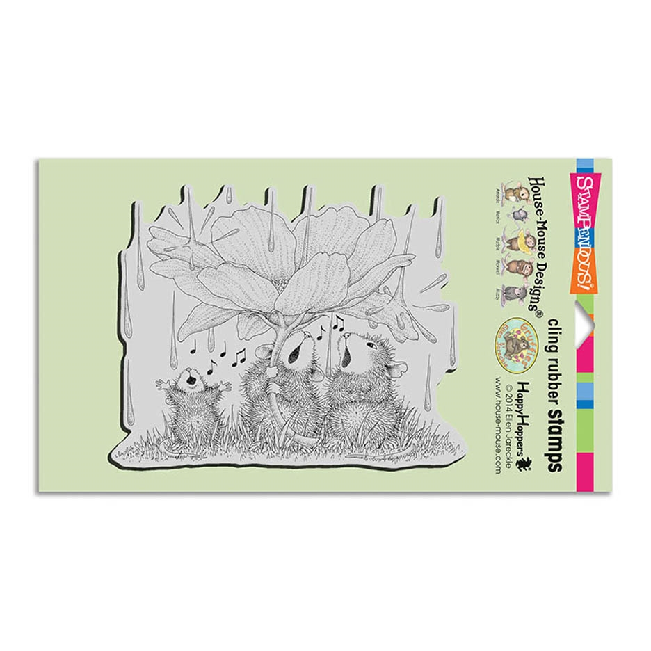 Stampendous Cling Stamp PEONY SONG Rubber UM hmcr116 House Mouse zoom image