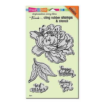 Stampendous Cling Stamp FRESH PEONY with Stencil Rubber UM crs5103