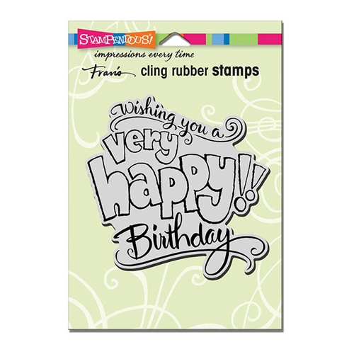 Stampendous Cling Stamp GREAT BIG HAPPY Rubber UM crw199 Preview Image
