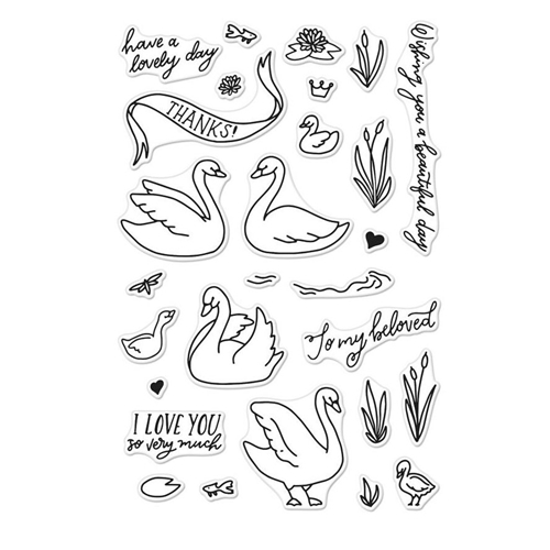 Hero Arts Clear Stamps SWANS AND CATTAILS CM230 Preview Image