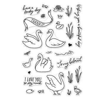 Hero Arts Clear Stamps SWANS AND CATTAILS CM230