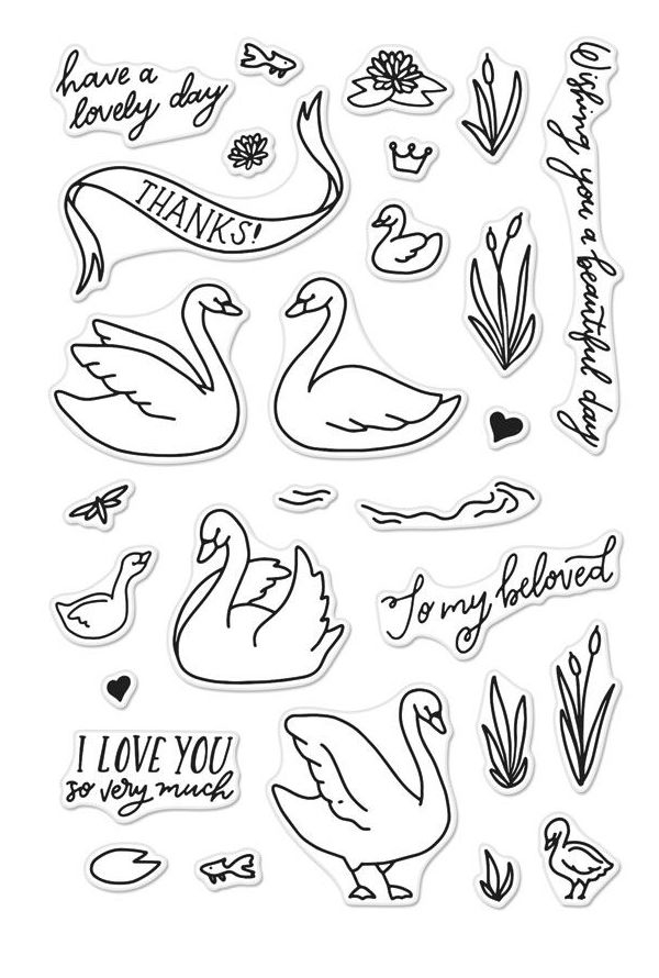 Hero Arts Clear Stamps SWANS AND CATTAILS CM230 zoom image