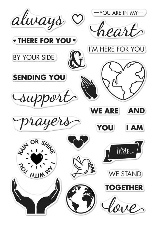 Hero Arts Clear Stamps SUPPORT PRAYERS LOVE CM219 zoom image