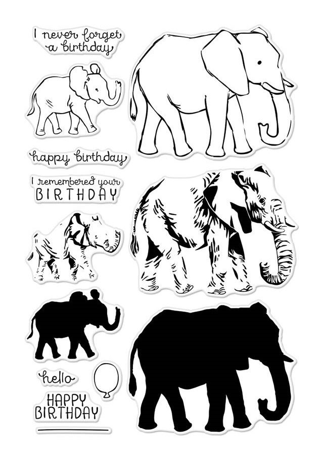 Hero Arts Clear Stamps COLOR LAYERING  ELEPHANT CM224 zoom image