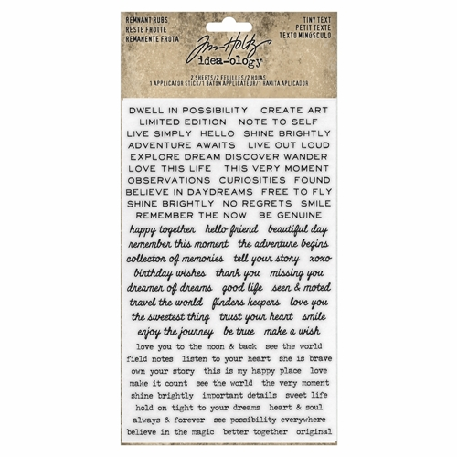 RESERVE Tim Holtz Idea-ology TINY TEXT Remnant Rubs th93695 Preview Image