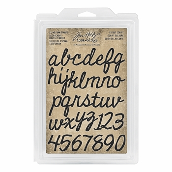 Tim Holtz Idea-ology CUTOUT SCRIPT Cling Foam Stamps th93701