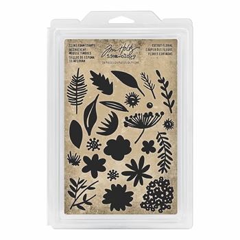 RESERVE Tim Holtz Idea-ology CUTOUT FLORAL Cling Foam Stamps th93703