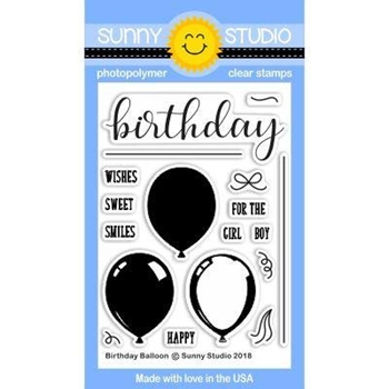 Sunny Studio BIRTHDAY BALLOON Clear Stamp Set SSCL-186