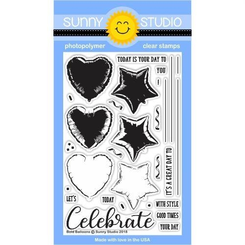 Sunny Studio BOLD BALLOONS Clear Stamp Set SSCL-185 Preview Image