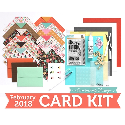 Simon Says Stamp Card Kit of The Month FEBRUARY 2018 A COLORFUL CRAFTY LIFE ck0218 Preview Image