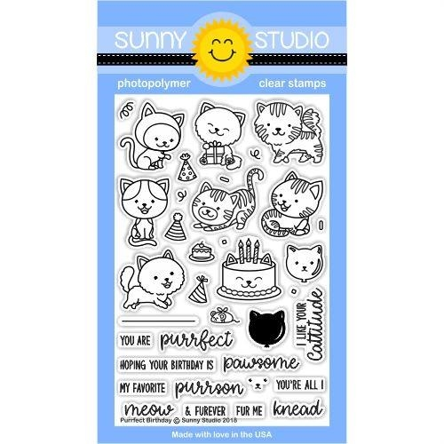 Sunny Studio PURRFECT BIRTHDAY Clear Stamp Set SSCL-182 zoom image