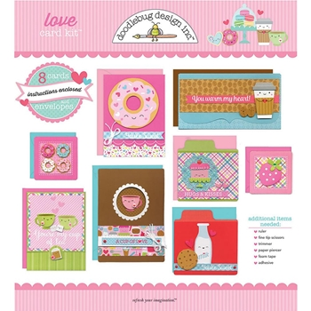 Doodlebug LOVE DESIGNER CARD KIT Eight Cards and Envelopes 6014