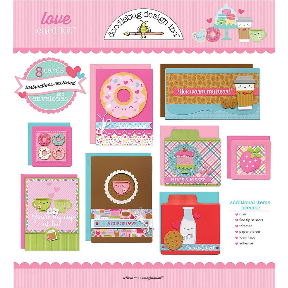 Doodlebug LOVE DESIGNER CARD KIT Eight Cards and Envelopes 6014 zoom image