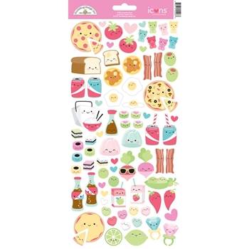 Doodlebug SO PUNNY FOOD ICONS Cardstock Stickers 5928