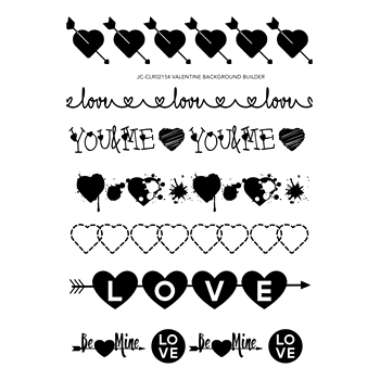 Joy Clair VALENTINE BACKGROUND BUILDER Clear Stamp Set clr02154