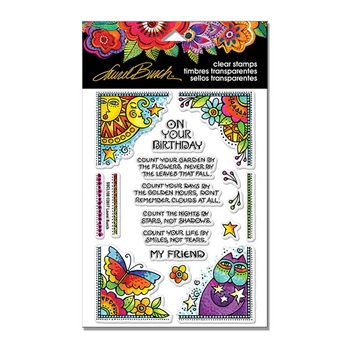 Stampendous Clear Stamps BDAY CORNERS Laurel Burch sscl108