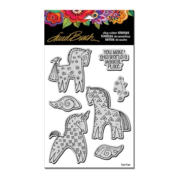 Stampendous Cling Stamp MAGICAL HORSES with Stencil Rubber UM Laurel Burch lbcrs07