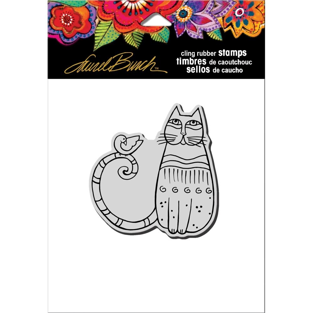 Stampendous Cling Stamp CAT AND FEATHERED FRIEND Rubber UM Laurel Burch LBCQ002 zoom image