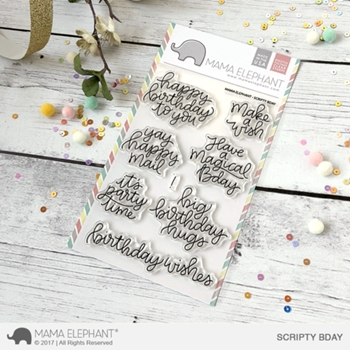 Mama Elephant Clear Stamp SCRIPTY BDAY