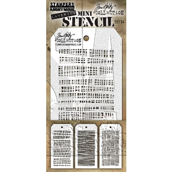 RESERVE Tim Holtz MINI STENCIL SET 34 MST034