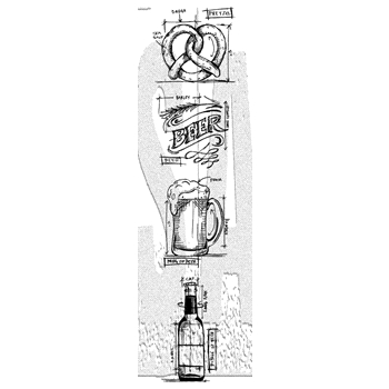 RESERVE Tim Holtz Mini Blueprints Strip BEER Cling Rubber Stamps THMB029