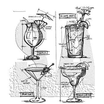 RESERVE Tim Holtz Cling Rubber Stamps 2018 COCKTAILS BLUEPRINTS CMS335