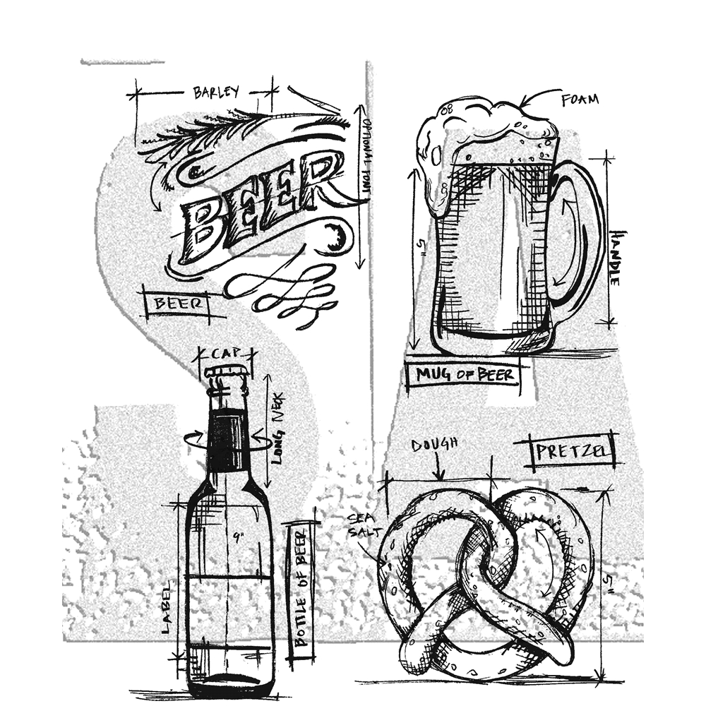 Tim Holtz Cling Rubber Stamps 2018 BEER BLUEPRINT CMS334 zoom image