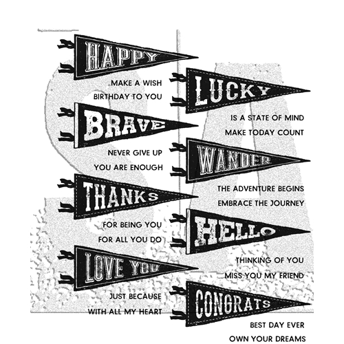 Tim Holtz Cling Rubber Stamps 2018 PENNANTS CMS330 Preview Image