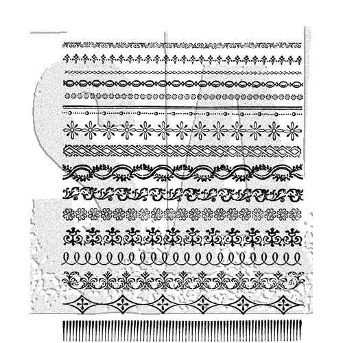 Tim Holtz Cling Rubber Stamps 2018 ORNATE TRIMS CMS326  Preview Image